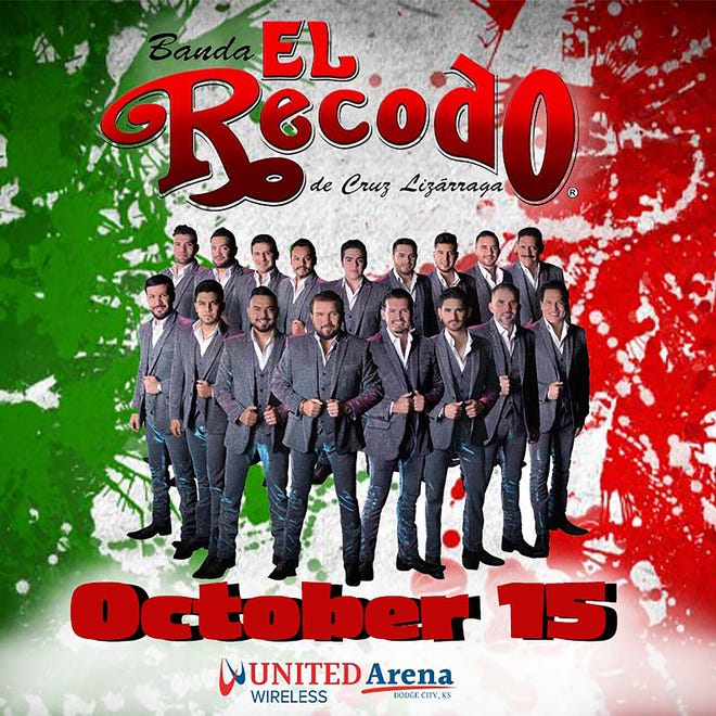 Banda el Recodo de Cruz Lizarraga will perform at the United Wireless Arena in Dodge City on Friday, Oct. 15. as part of National Hispanic Heritage Month. Tickets go on sale Friday, Sept. 10 at 10 a.m. and range from $69 to $89.