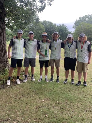 The Geneseo Boys' Golf Team was crowned first place champions of the large School Division of the Rock Falls Invite. The champions are, from left, Thomas Henson, Sam Robinson, Tayt Hager, Hayden Moore, Bryson VanHoutte and Mason Steinert.