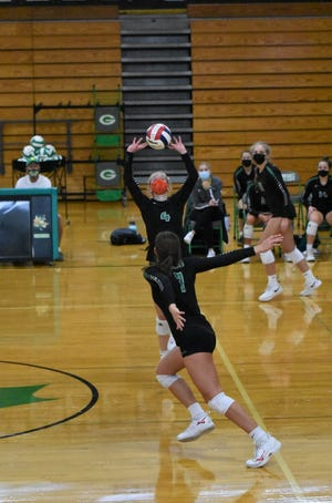 Lauren Johnsen, No. 4; and Hannah Copeland, No. 7, were key players in both of Geneseo's victories over Sterling and Quincy on Saturday, Sept. 4, at Geneseo High School.