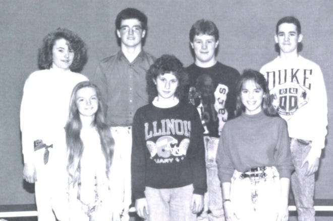 Pictures of the Past is from the 1990 Lincoln Community High School yearbook. The photo shows members of the Freshman Student Council. First row: Gina Ghearing, Amy Boward and Jennifer Franz, all representatives. Second row: Melanie Long, representative, Chris Gray, secretary/treasure, Brock Young, president and Tom Vlahovich, vice president.