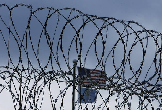 Security fencing surrounds an Oklahoma prison.