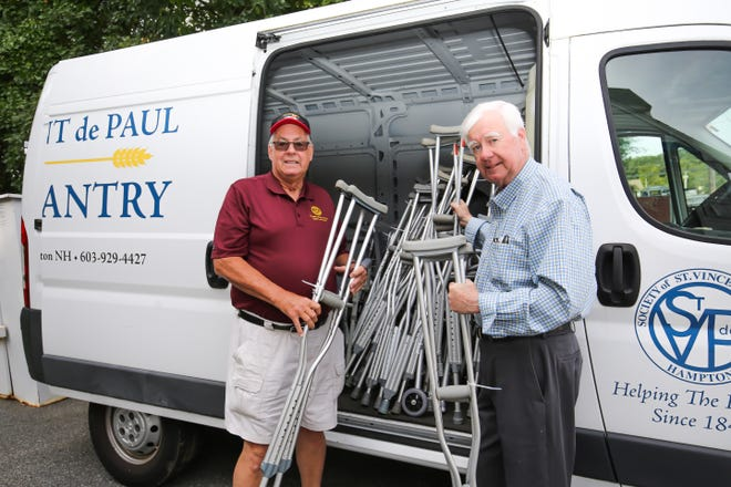 Volunteers Paul Nicholson and David Anderson from St. Vincent de Paul in Hampton delivered a van of medical support supplies to Health Equity International in Beverly Massachusetts. These supplies included canes, crutches, walkers and commodes. This organization manages St. Boniface Hospital in the southern peninsula of Haiti, one of the areas hardest hit by the recent earthquake. St. Boniface is an orthopedic hospital in dire need of these supplies. St. Vincent de Paul is located at 289 Lafayette Road. Along with the Rotary Club, the group has been supplying the Seacoast with these items at no charge. Now, with their supply depleted, they are asking if anyone has any of these items not in use to please donate what you can.