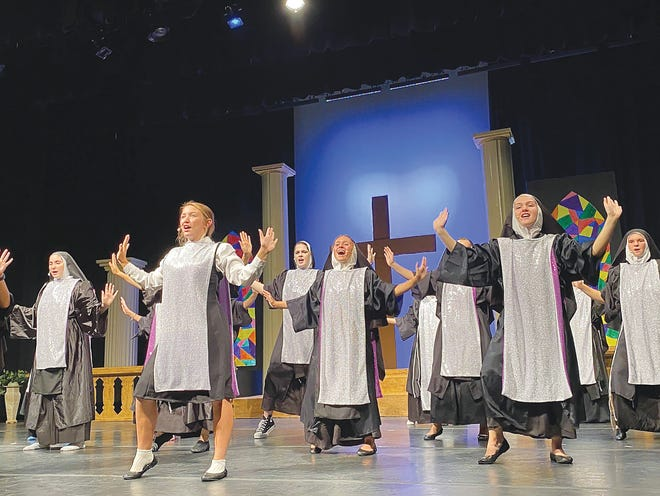 """Jadyn Thompson (front left), Tess Clarkson (middle) and Sadie Green (front right) and a host of other Pratt High School thespians join together to present """"Sister Act"""" and 1992 comedy musical this weekend in Pratt. E-mail director Arica Malone at arica.malone@usd382.com to reserve tickets for the Sept.11 - 7:30 p.m. and Sept. 12 - 2 p.m. performances."""