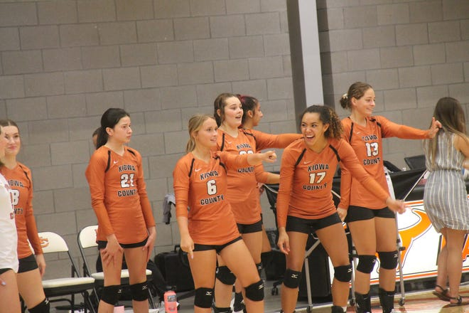Kiowa County High School varsity volleyball players enjoy some lighter moments during a recent tournament. They are unbeaten so far this year in tournament action.