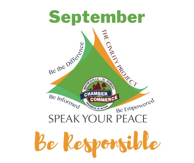 Waynesville Chamber Speak Your Peace projects features 'Be Responsible' in September.