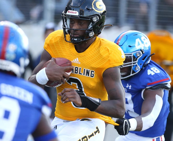 Elijah Walker of Grambling State runs for a touchdown during the Black College Football Hall of Fame Classic against Tennessee State at Tom Benson Hall of Fame Stadium in Canton.