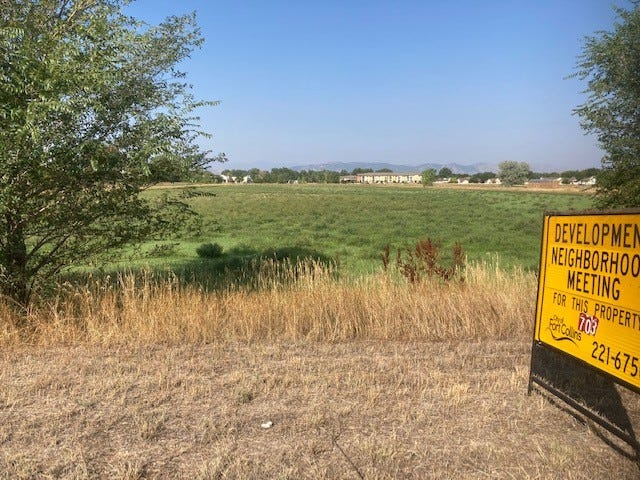 Landmark Homes has proposed building 400 to 700 new homes in between Front Range Village and The English Ranch subdivision north of Harmony Road.