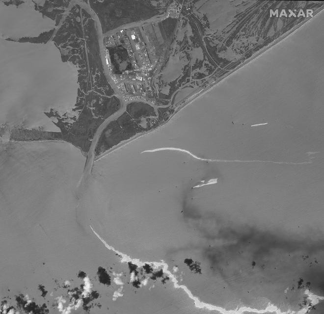 This satellite image provided by Maxar Technologies shows an overview of Port Fourchon, La., and oil slicks on Sept. 2, 2021.    The U.S. Coast Guard said Saturday, Sept. 4,  that cleanup crews are responding to a sizable oil spill in the Gulf of Mexico following Hurricane Ida.