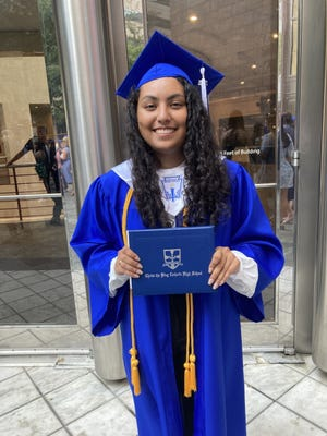 """Jasmin Aracely Gonzalez, a 2021 """"A-Student""""graduate from Lexington's Christ the King Catholic High School and the 2021 """"PATROCINAME"""" (Spanish for Fund Me) winner."""