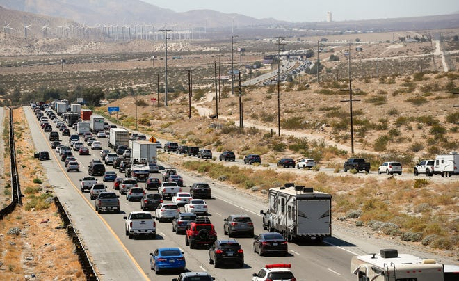 Westbound lanes on Interstate 10 are seen backed up just before the Highway 111 junction, Monday, Sept. 6, 2021, in Whitewater.