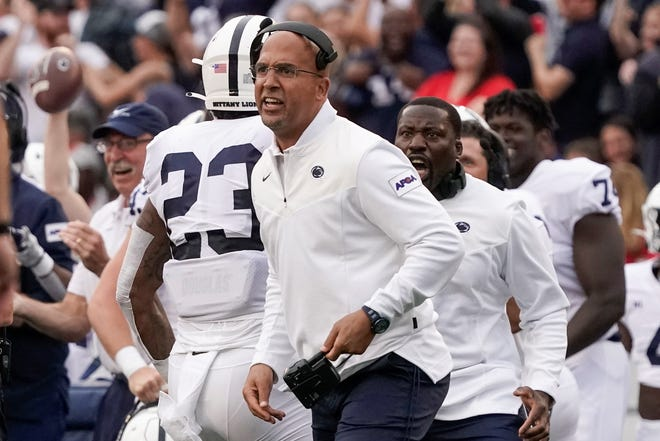 Penn State head coach James Franklin reacts to a blocked field goal during the first half of an NCAA college football game against Wisconsin Saturday, Sept. 4, 2021, in Madison, Wis. (AP Photo/Morry Gash)