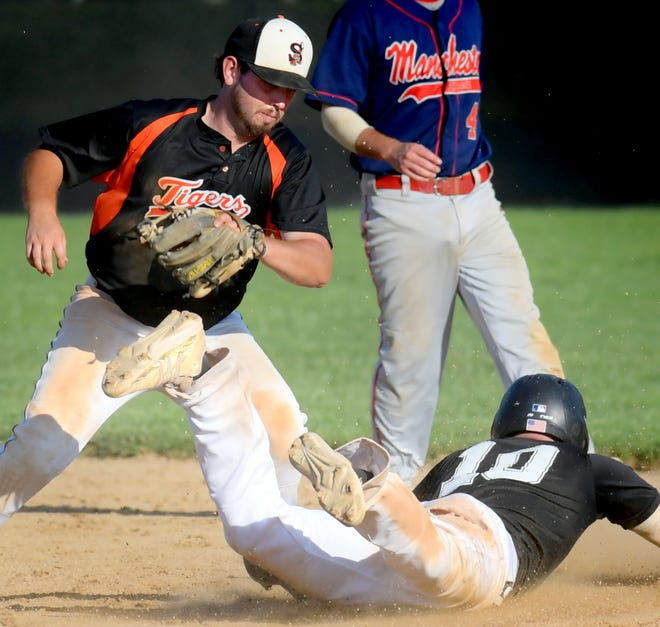 Stoverstown's Nick Spangler takes a late throw as Diamond Academy's Kyle Feaster steals second in the Tom Kerrigan Memorial Baseball Tournament Championship Game at Mount Wolf Monday, Sept. 6, 2021. Bill Kalina photo