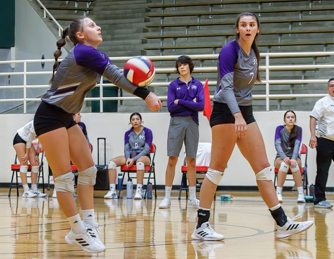 Cedar Ridge's Khloe Ragan, passing the ball against Austin High earlier this year, and her teammates survived a five-set marathon with Hendrickson in a nondistrict contest last week. The Raiders and the rest of District 25-6A start district play this week.