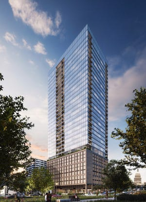 Stratus Properties Inc. plans to develop a 34-story apartment tower on West 12th bewteen San Antonio and Guadalupe streets in downtown Austn, a few blocks west of the state Capitol.