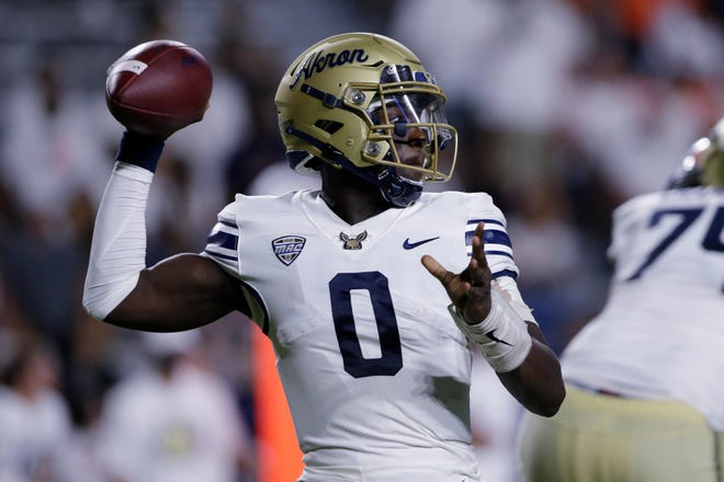 University of Akron quarterback DJ Irons completed 13-of-13 passes in mop-up duty during a 60-10 loss to Auburn on Saturday night but the play of Irons is one of the positives coach Tom Arth took away from the loss. [Butch Dill/Associated Press]