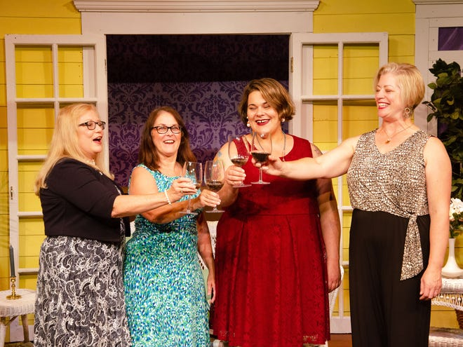 Phyllis Kibler (as Dot Haigler), from left, Cheryl Foutz (as Randa Covington), Jacki Dietz (as Marlafaye Mosely) and Jennifer Roneker (as Jinx Jenkins) toast to a free trip to Paris, France.