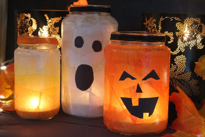 Make a spooky lantern from a glass jar.