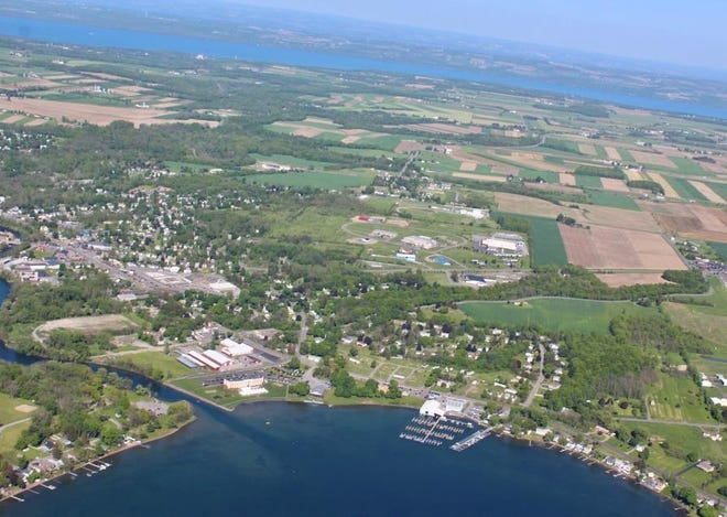 Keuka Lake and the Keuka Lake Outlet in the foreground, with Seneca Lake in the background, are the subject of a watershed plan partnership to create a 9-Element Plan.