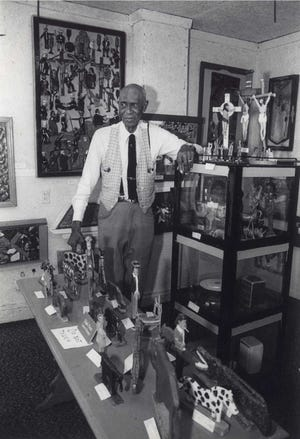 Elijah Pierce's life story and spirituality is reflected in his art. Martin Luther King Jr., Jimmy and Rosalynn Carter, Archie Griffin and others have been depicted in his work, which has been shown worldwide, including at the Smithsonian and recently at a major retrospective in Philadelphia at the Barnes Foundation. He is shown here in a 1982 Dispatch file photo.