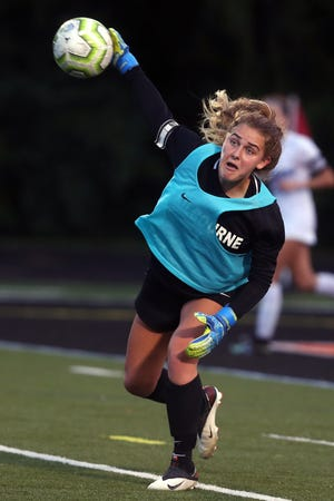 Celeste Sloma is a four-year fixture in goal for Kilbourne. Shehad four shutouts in the first seven games this season, as the Wolves were5-1-1 before playing Delaware on Sept. 14.