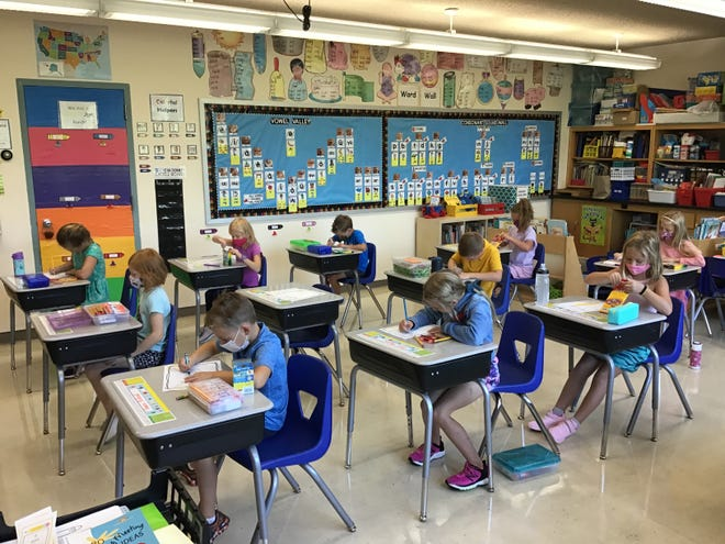 """""""Students at Cathedral School are hard at it today as we begin the 2021-22 School Year!"""" said teacher Laurie Erickson. """"1st Grade students worked hard on a 1st Day of 1st Grade Book!"""""""