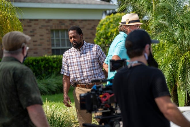 """Feature actor T.C. Stallings films a scene on Tuesday for the movie """"No Vacancy"""" at First Baptist Church in Leesburg."""