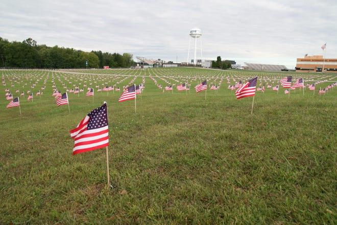 Unity Field at Michigan International Speedway, features almost 3,000 American flags. The display, seen here during September 2020. is part of the annual Spirit of America Blood Drive at MIS. The flags memorialize the people who died in the Sept. 11, 2001, terrorist attacks.