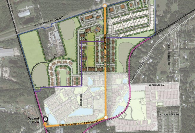 Site plan for the proposed Villages at Pelham Square west of DeLand planned by developer Richard Wohlfarth.