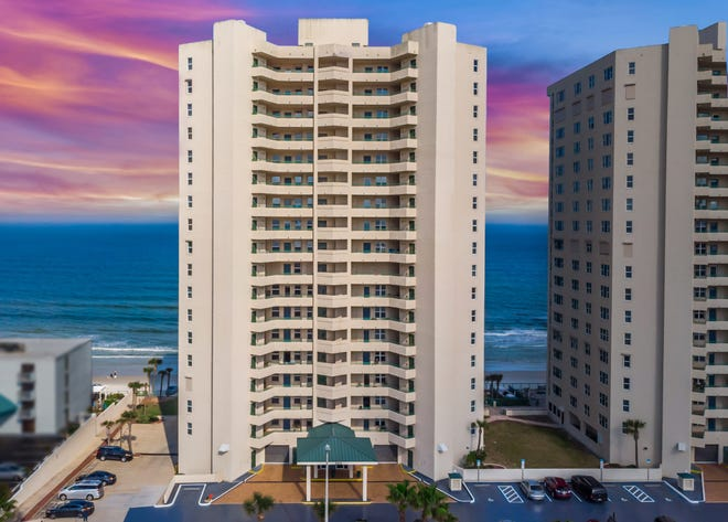 Located in Dimucci Twin Towers in Daytona Beach Shores, this impressive 17th-floor, direct-oceanfront luxury condominium residence is a sanctuary of maintenance-free coastal living.