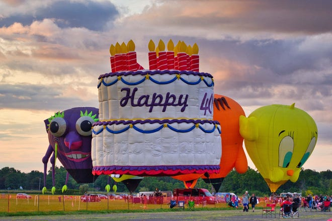 """A special birthday balloon reads """"Happy 40th"""" as the Dansville Festival of Balloons marked its 40th anniversary over the weekend."""