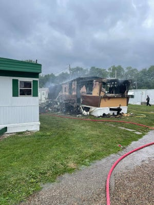"""Officials are calling a fire at a mobile home, located at 602 W. Mount Pleasant St. in West Burlington on Saturday, a """"total loss."""""""