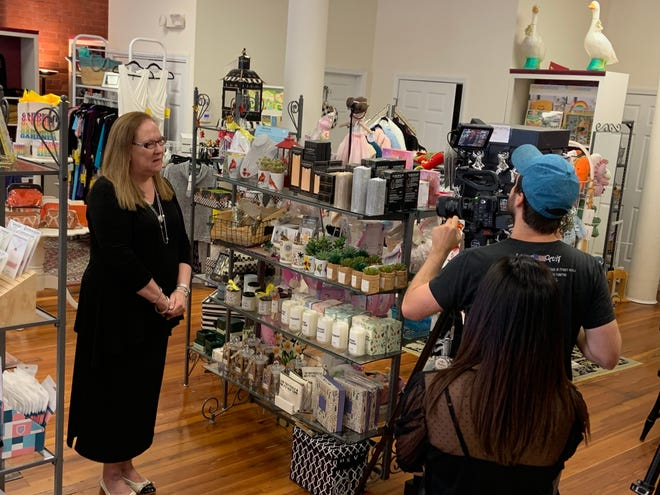 """Patti Bergstrom, owner of The Velvet Goose in Gardner, is interviewed for a segment of the TV series """"Viewpoint"""" on Sept. 7."""