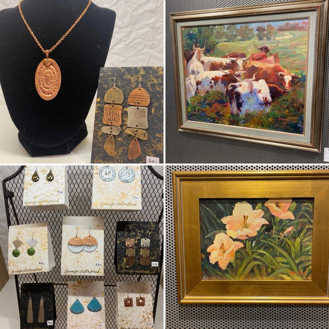 Featured artists are Jean Cook, paintings, and Jennifer Walterscheid, jewelry in the Midtown Gallery at The Clayworks.