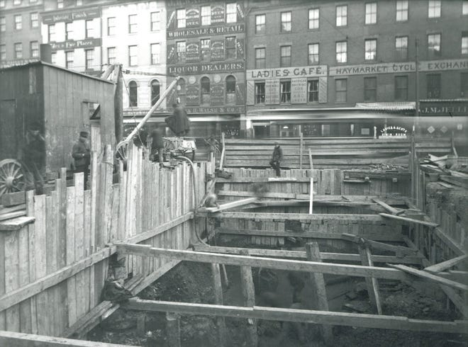 Some piles from the old Middlesex Canal were found during an excavation project in Haymarket Square in January 1897. Learn more at the Boston City Archives (https://cityofboston.access.preservica.com).