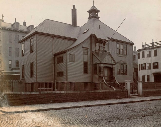 Here is the Medford Street School in Charlestown as it was in 1892-93. The photo is from the A.H. Folsom collection at the Boston Public Library. Photo from/Boston Public Library