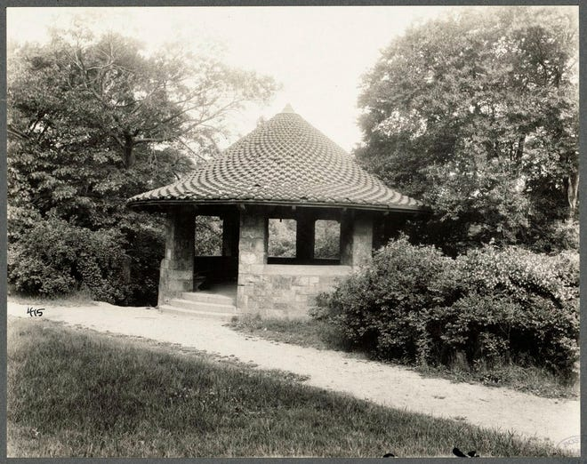 This is the Gazebo at the Muddy River in Olmsted Park in Jamaica Plain as it was in 1919. As part of the Emerald Necklace, it was originally named Leverett Park In 1900, it was renamed to honor its designer, Frederick Law Olmsted. Learn more at www.digitalcommonwealth.org.