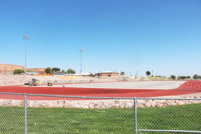 Work continues on the new artificial turf installation and the scheduled home opener against Alamosa will now be played at Pueblo County High School's field.