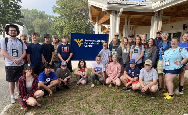 4-H Teen Leaders trained in Agricultural Science activities at the new Annette S. Boggs Educational Center at WVU Jackson's Mill. The youths are now prepared to teach programs locally with 4-H clubs, schools groups and community programs. Pictured are: (front, l-r) Hannah Breen (WVU 4-H Extension camping instructor), Blake Kalvhun, Grandin Lewis, Natalie Kyle, Lara Bittinger, Helen McCarty, Aiden Riggleman, and Cooper Cox, (second row) JT Rice, Elijah Hesse, Blake Kitzmiller, Jacob Cox, Megan Weaver, Phoebe Weaver, Lilly Crites, Morgan Cowgill, Gracie Moncrief, Barbara Williams and Candra DelSignore, (third row) Grayson Lambka, Delmer Pugh, Elijah Cummings, James Williams, Wyatt Royal, Will Barb and Audrey Williams.