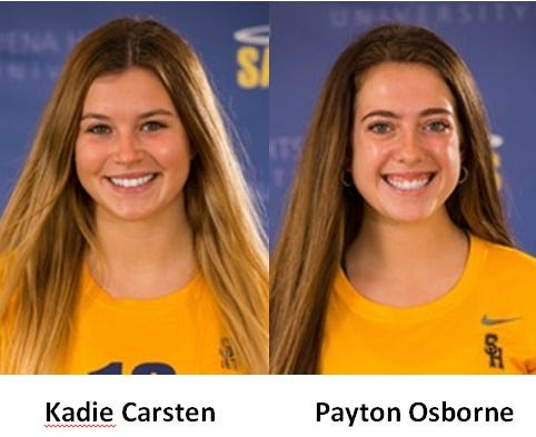 Kadie Carsten of Ida and SMCC's Payton Osborne both earned Wolverine Hoosier Athletic Conference Volleyball Player of the Week honors for Siena Heights.