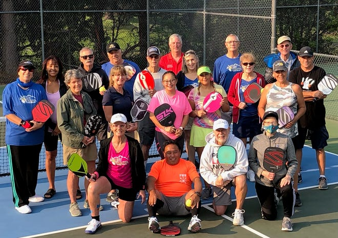 Members of the Mount Shasta Pickleball Club  pose for a photo. The group is hosting  a  tournament at the Mt. Shasta Resort this weekend from Friday, Sept. 10, to Sunday, Sept. 12, 2021.