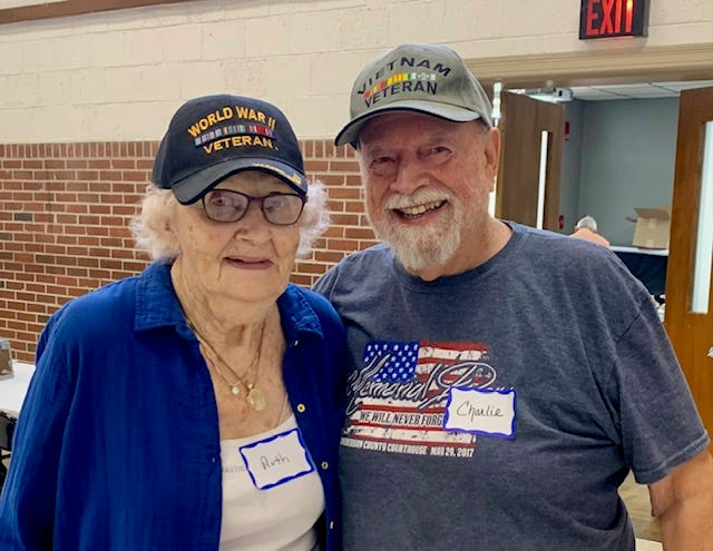 Military veterans Ruth Skidmore and Charlie Orr regularly attend the monthly Anderson County Veterans Appreciation Breakfasts.