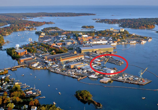 An aerial image of Portsmouth Naval Shipyard shows where the $1.7 billion dry dock project will be constructed, kicking off with a groundbreaking ceremony Sept. 8, 2021.