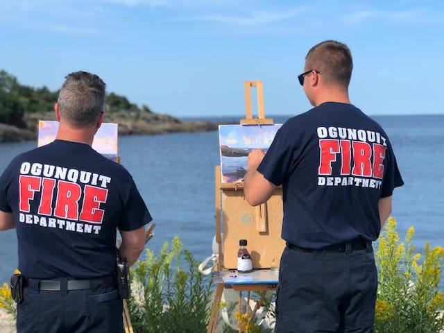 Ogunquit firemen are going to paint during the plein air painting event at Perkins Cove on Saturday, Sept. 11.