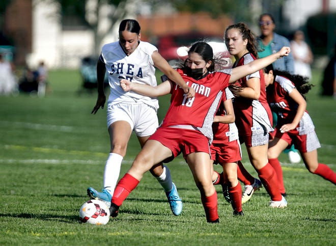 Tolman's Lisahan Marin tries to knock the ball away from Shea's Jezabel Gauthier during Tuesday's Division III match.