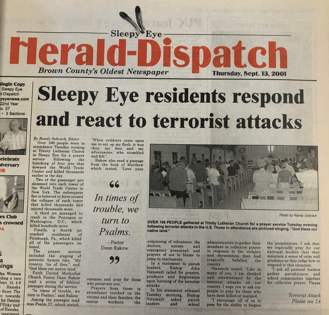 Front page Sept. 13, 2001