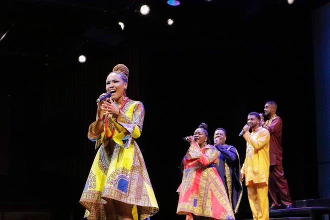 """Artists who performed in WBTT's """"Help for Haiti"""" benefit included, from left, Jai Shanae, Syreeta S. Banks, Nate Jacobs, Christopher Eisenberg and Michael Mendez."""