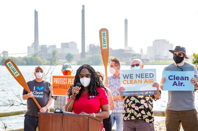 Springfield NAACP President Teresa Haley describes the health problems she has suffered following the release of coal ash at the Dallman Power Station during a press conference at the Spaulding Dam Boat Launch in Springfield, Ill., Tuesday, September 7, 2021. The Sangamon Valley Group of Sierra Club Illinois, Prairie Rivers Network and Springfield NAACP held the press conference to call for City Water, Light and Power to publicly release a report on the incident at Dallman Power Station Unit 4 that caused coal residue to be released into the air and blow into the surrounding community. [Justin L. Fowler/The State Journal-Register]