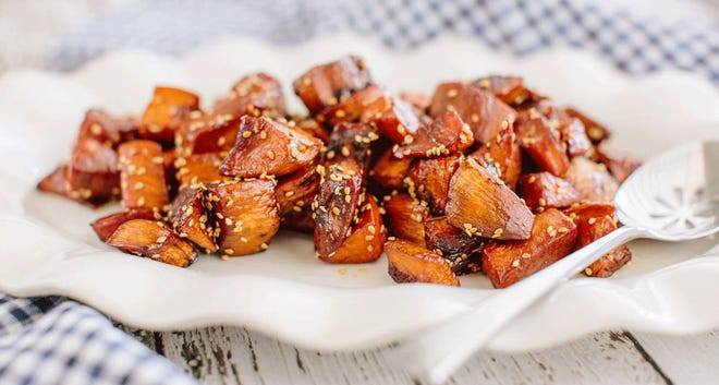 Roasted Sorghum Sweet Potatoes with Benne Seeds.