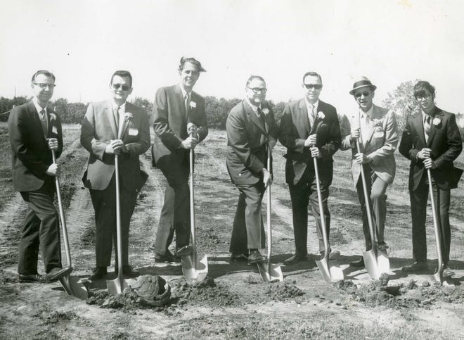 """The first building to be constructed on the current site of Seminole State College was an all-purpose classroom building later named Tanner Hall in honor of the first President, Elmer Tanner. Local officials pictured breaking ground on the new campus were (left to right): Trustee Emery Magruder, Trustee Clarence Clark, Seminole Mayor Waldo Lilly, Oklahoma Chancellor of Higher Education E.T. Dunlap, Seminole Junior College President Elmer Tanner, Trustee Dr. Hubert Callaway and SJC Student Government Association President Richard """"Dickie"""" Dollar."""