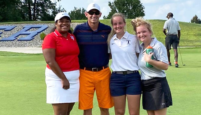 Sturgis golf coach Ken Schau got a chance to watch three former players Rachel Webb, Carli Sanford and Lexi DeVries, play in a college match earlier this season.